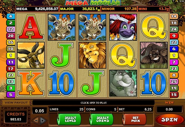 Mega Moolah 777 Slots Bay game