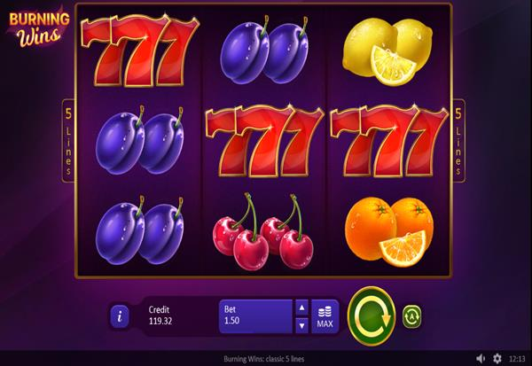 Burning Wins classic 5 lines 777 Slots Bay game