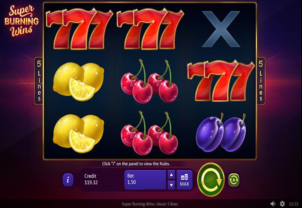 Super Burning Wins classic 5 lines 777 Slots Bay game