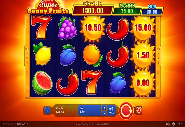 Super Sunny Fruits Hold and Win 777 Slots Bay game