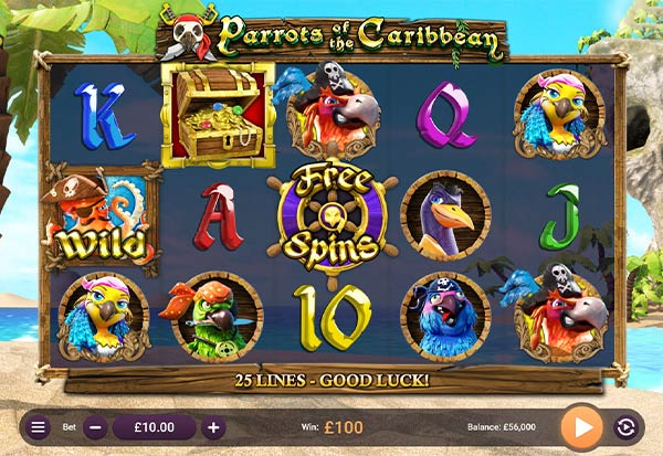 Parrots of the Caribbean 777 Slots Bay game